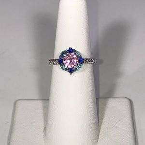 Stunning Pink Blue Genuine Swarovski Crystal Ring